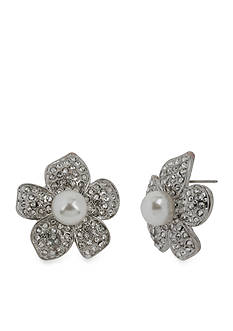Betsey Johnson Flower Pearl Stud Earring