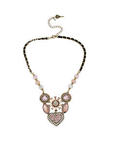 Betsey Johnson Crystal Gem Cluster Frontal Necklace