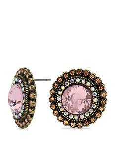 Betsey Johnson Crystal Gem Button Earring