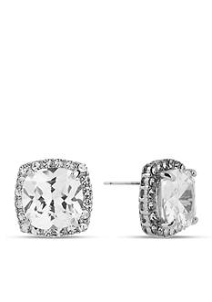 Betsey Johnson Crystal CZ Silver-Tone Square Stud Earring