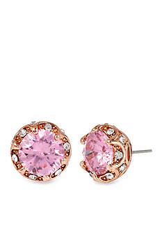 Betsey Johnson Ruffled Pink Crystal Stud Earring