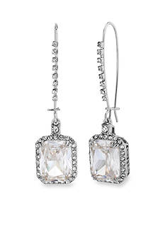 Betsey Johnson Crystal CZ Silver-Tone Square Long Drop Earring