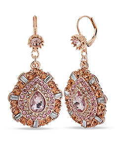 Betsey Johnson Mixed Pink Faceted Bead Teardrop Earring