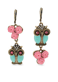 Betsey Johnson Owl Mismatch Drop Earrings