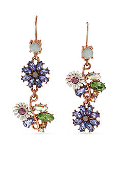 Betsey Johnson Faceted Bead Flower Mismatch Drop Earring