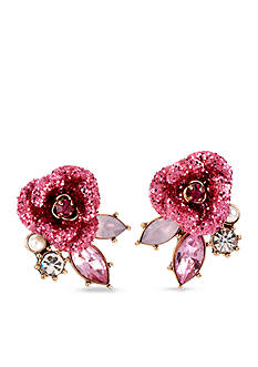 Betsey Johnson Glitter Rose Mismatch Stud Earring