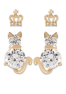 Betsey Johnson Crown & Cat Duo Stud Earring Set