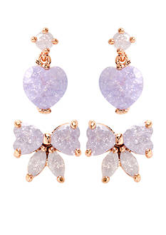 Betsey Johnson Bow & Heart Duo Stud Earring Set