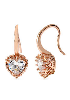 Betsey Johnson Crystal Heart Rose Gold-Tone Drop Earring