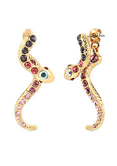 Betsey Johnson Gold-Tone Pave Snake Front and Back Earring