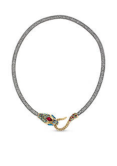 Betsey Johnson Gold-Tone Pave Snake Mesh Collar Necklace