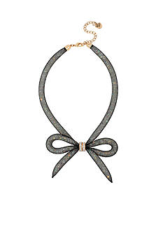 Betsey Johnson Gold-Tone Memoirs Of Betsey Mesh Bow Necklace