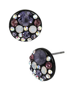 Betsey Johnson Hematite-Tone Purple Multi Faceted Stone Round Disc Stud Earring