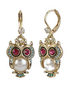 Betsey Johnson Gold-Tone Pearl Owl Drop Earrings