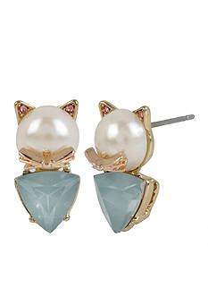 Betsey Johnson Gold-Tone Pearl Cat Stud Earrings