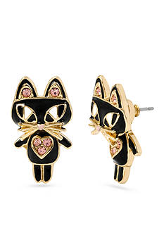Betsey Johnson Gold-Tone Cat Front & Back Earring