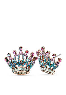 Betsey Johnson Rose Gold-Tone Pave Crown Stud Earring