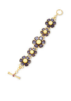 Betsey Johnson Gold-Tone Purple Faceted Stone Flower Toggle Bracelet