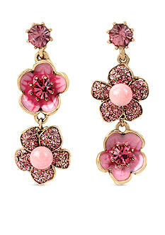 Betsey Johnson Gold-Tone Memoirs Of Betsey Flower Double Drop Earrings