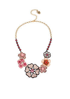 Betsey Johnson Gold-Tone Memoirs Of Betsey Mixed Flower Collar Necklace