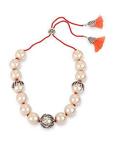 Betsey Johnson Pearl Adjustable Slide Necklace