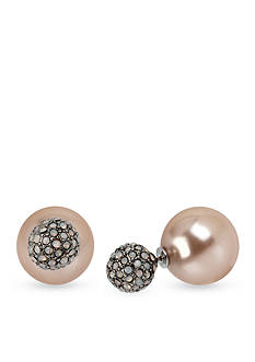 Betsey Johnson Silver-Tone Crystal Bead and Pearl Stud Earrings