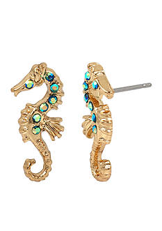 Betsey Johnson Sea Horse Button Earrings