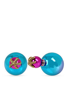 Betsey Johnson Starfish Multi-Colored Front and Back Earrings