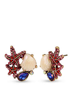 Betsey Johnson Starfish and Sea Shell Cluster Button Earrings