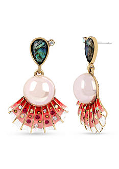 Betsey Johnson Sea Shell and Pearl Drop Earrings