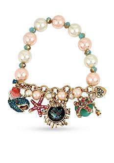 Betsey Johnson Mixed Multi Charm Pearl Half Stretch Bracelet