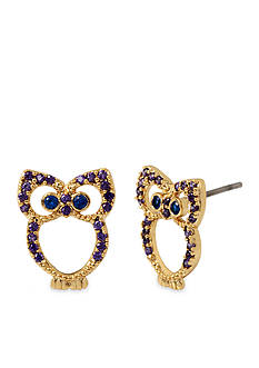 Betsey Johnson Gold-Tone Spring Critters Cubic Zirconia Owl Button Earring