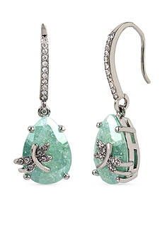 Betsey Johnson Silver-Tone Spring Critters Cubic Zirconia Drop Earrings