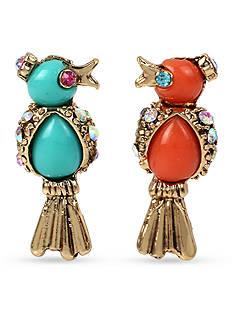 Betsey Johnson Gold-Tone Betsey's Delicates Bird Button Earrings