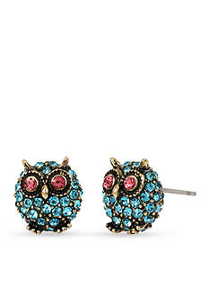 Betsey Johnson Gold-Tone Betsey's Delicates Owl Stud Earrings