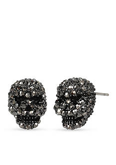 Betsey Johnson Hematite Tone Betsey's Delicates Skull Stud Earrings