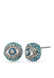 Betsey Johnson Silver-Tone Betsey's Delicates Eye Stud Earrings