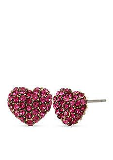 Betsey Johnson Gold-Tone Betsey's Delicates Heart Stud Earrings