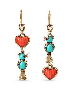 Betsey Johnson Gold-Tone Betsey's Delicates Bird Linear Earrings