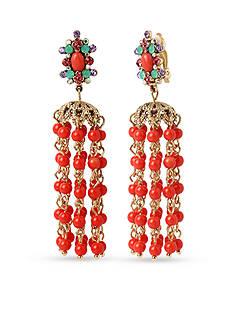 Betsey Johnson Gold-Tone Betsey's Delicates Chandelier Clip Earrings