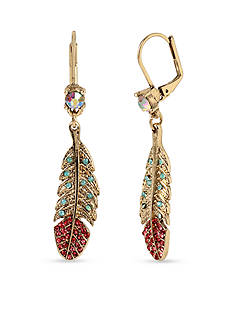 Betsey Johnson Gold-Tone Betsey's Delicates Feather Drop Earrings