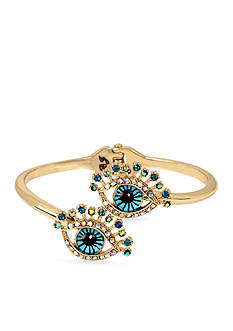 Betsey Johnson Gold-Tone Betsey's Delicates Eye Bangle Bracelet