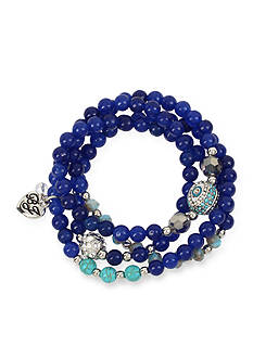 Betsey Johnson Silver-Tone Betsey's Delicates Blue Eye Stretch Bracelet