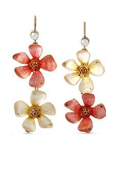 Betsey Johnson Gold-Tone Luminous Betsey Flower Double Drop Earrings