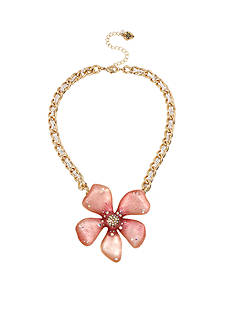 Betsey Johnson Gold-Tone Luminous Betsey Large Flower Pendant Necklace