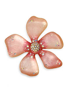 Betsey Johnson Gold-Tone Pink Flower Pin