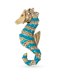 Betsey Johnson Gold-Tone Blue Sea Horse Pin