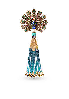 Betsey Johnson Gold-Tone Boho Betsey Peacock Pin