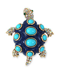 Betsey Johnson Gold-Tone Blue Turtle Pin