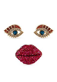 Betsey Johnson Lips Stretch Ring and Eye Stud Earring Set